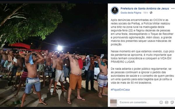 Covid-19: PM encerra festa com dezenas de pessoas na zona rural de Santo Antônio de Jesus